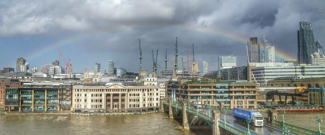Rainbow and Cranes