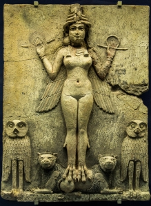 The Queen of the Night Possibly Ishtar the Goddess of Sexual Love and War, or her sister and rival Ereshkigal, ruler of the underworld.  From the reign of Hammurabi - Babylon c1792-1750 BC